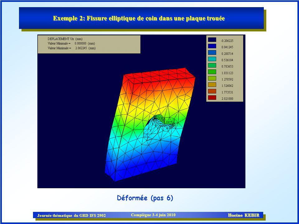 Journée thématique du GRD IFS 2902 Compiègne 3-4 juin 2010 Hocine KEBIR Exemple 2: Fissure elliptique de coin dans une plaque trouée Déformée (pas 6)