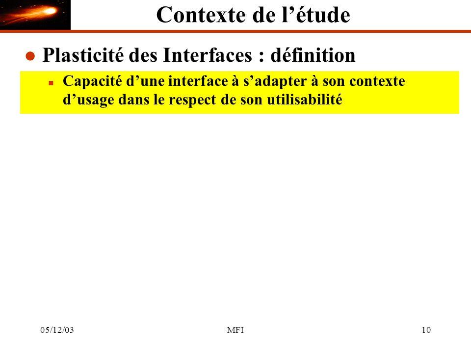 05/12/03MFI10 Contexte de létude l Plasticité des Interfaces : définition n Capacité dune interface à sadapter à son contexte dusage dans le respect de son utilisabilité