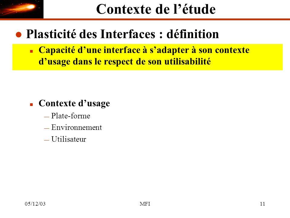 05/12/03MFI11 Contexte de létude l Plasticité des Interfaces : définition n Capacité dune interface à sadapter à son contexte dusage dans le respect de son utilisabilité n Contexte dusage Plate-forme Environnement Utilisateur