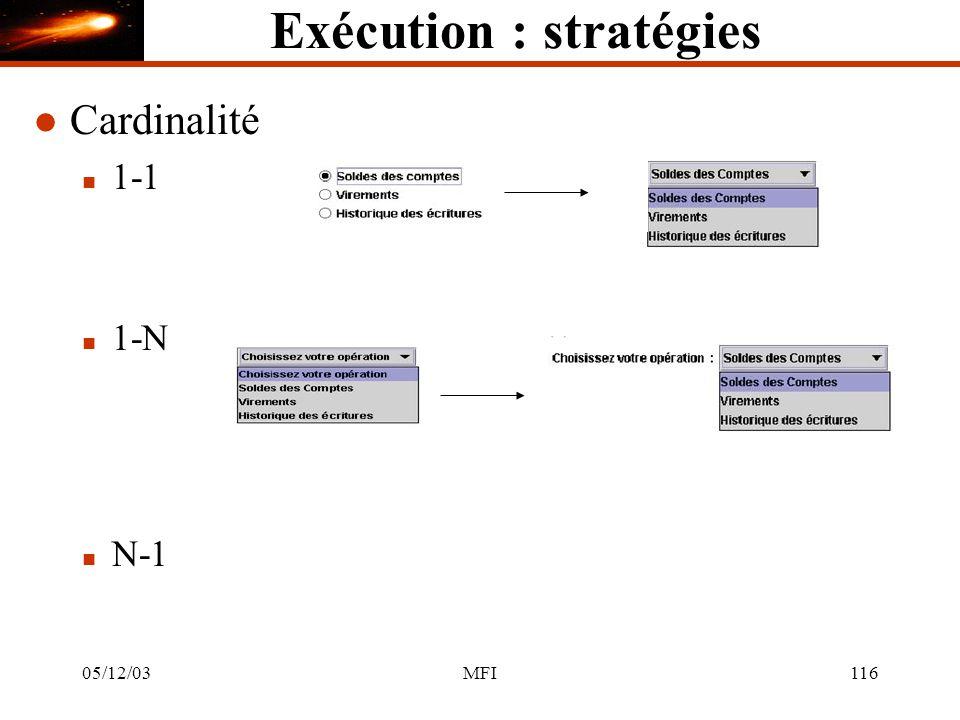 05/12/03MFI116 Exécution : stratégies l Cardinalité n 1-1 n 1-N n N-1