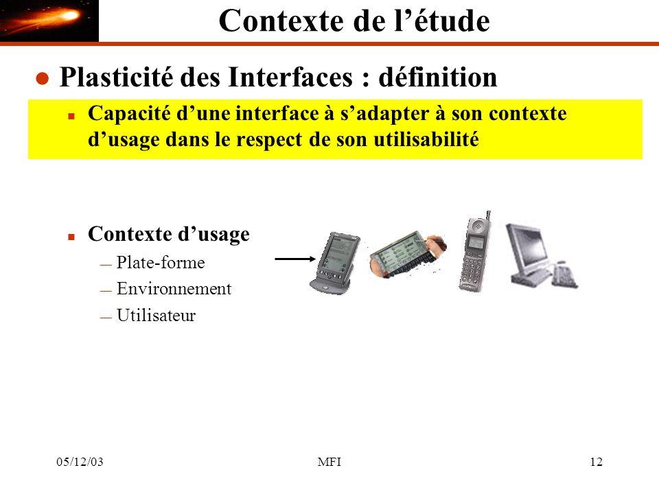 05/12/03MFI12 Contexte de létude l Plasticité des Interfaces : définition n Capacité dune interface à sadapter à son contexte dusage dans le respect de son utilisabilité n Contexte dusage Plate-forme Environnement Utilisateur