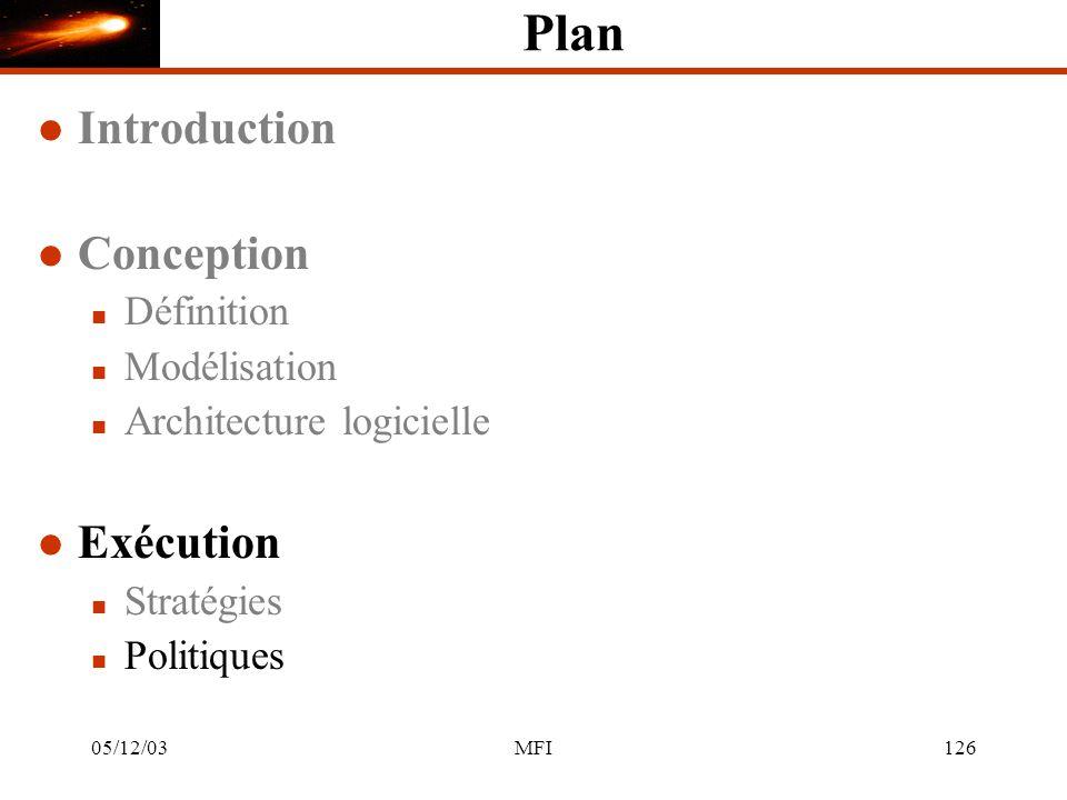 05/12/03MFI126 Plan l Introduction l Conception n Définition n Modélisation n Architecture logicielle l Exécution n Stratégies n Politiques