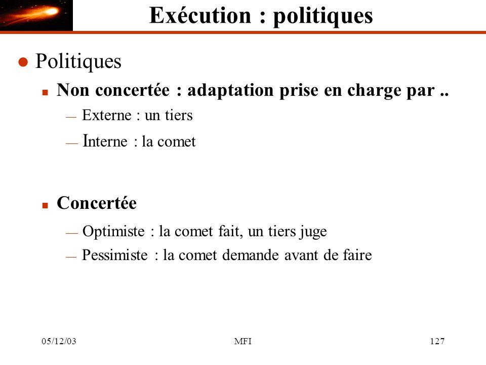 05/12/03MFI127 Exécution : politiques l Politiques n Non concertée : adaptation prise en charge par..