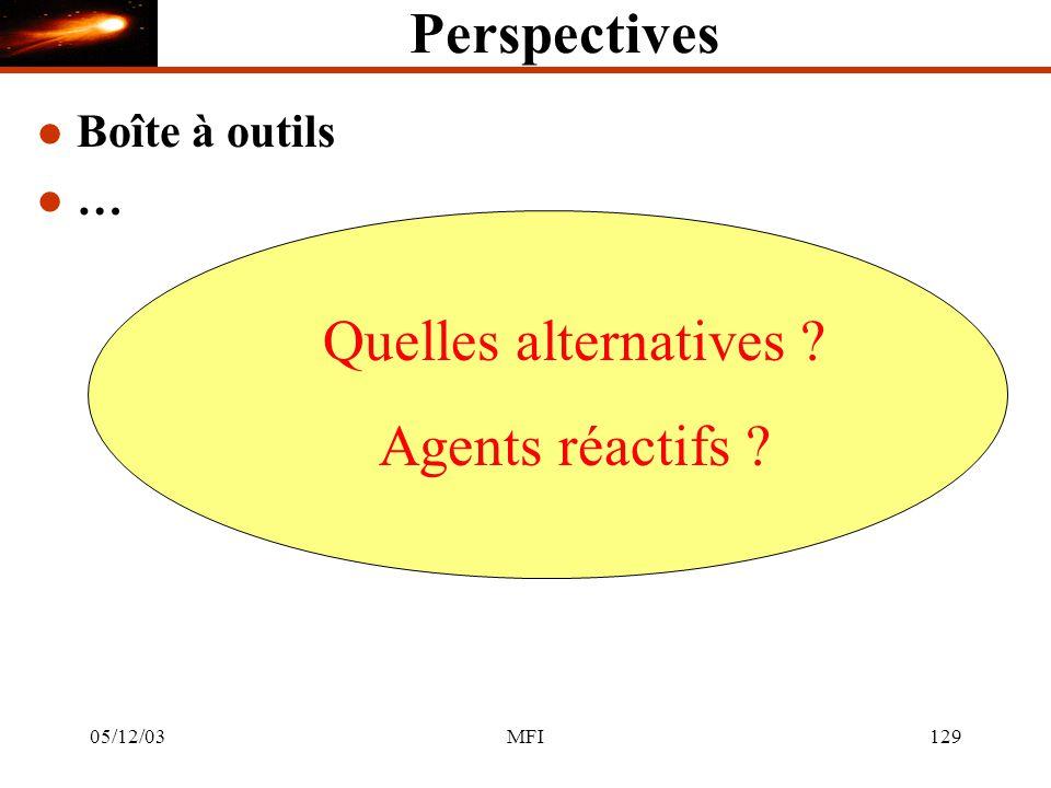 05/12/03MFI129 Perspectives l Boîte à outils l … Quelles alternatives Agents réactifs