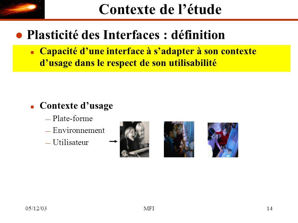 05/12/03MFI14 Contexte de létude l Plasticité des Interfaces : définition n Capacité dune interface à sadapter à son contexte dusage dans le respect de son utilisabilité n Contexte dusage Plate-forme Environnement Utilisateur