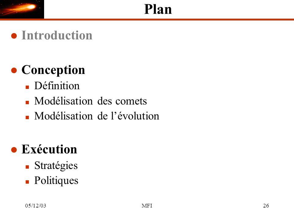 05/12/03MFI26 Plan l Introduction l Conception n Définition n Modélisation des comets n Modélisation de lévolution l Exécution n Stratégies n Politiques