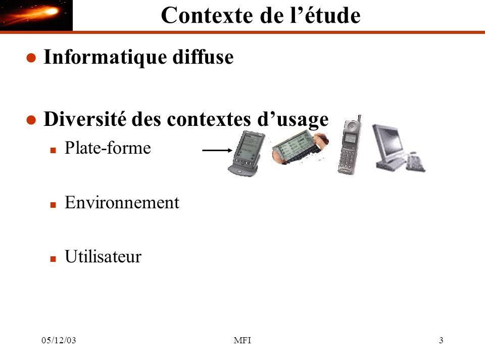 05/12/03MFI3 Contexte de létude l Informatique diffuse l Diversité des contextes dusage n Plate-forme n Environnement n Utilisateur