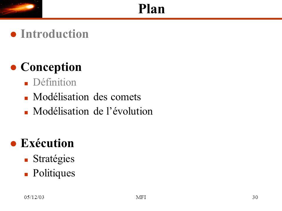 05/12/03MFI30 Plan l Introduction l Conception n Définition n Modélisation des comets n Modélisation de lévolution l Exécution n Stratégies n Politiques