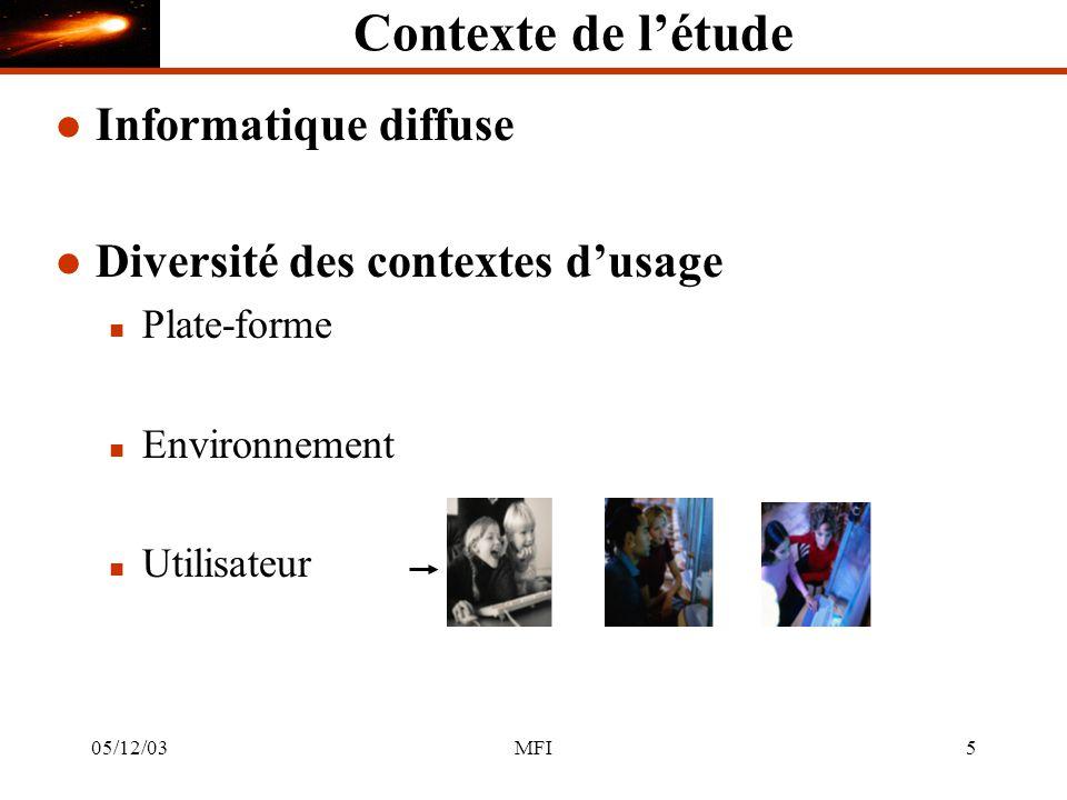 05/12/03MFI5 Contexte de létude l Informatique diffuse l Diversité des contextes dusage n Plate-forme n Environnement n Utilisateur