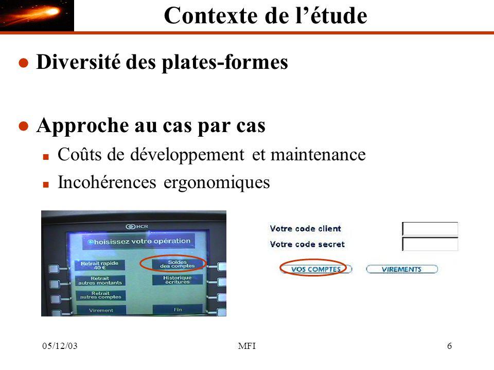 05/12/03MFI67 CometAbstraction 1..* Concepts et Tâches IU abstraite Interface abstraite est réifié en est abstrait en 1..* IU concrète +style() est réifié en est abstrait en1..* Interface concrète 1..* IU finale +propriétés() est réifié en est abstrait en1..* Interface finale RCMRCM Composant Comet +concepts() +tâches() +plate-forme() +utilisateur() +environnement() +evolution() +transition Cible i Concept Tâches Utilisateur Plate-forme Environ- nement Evolution Transition +usage(ComposantComet c) Conception : modélisation des comets