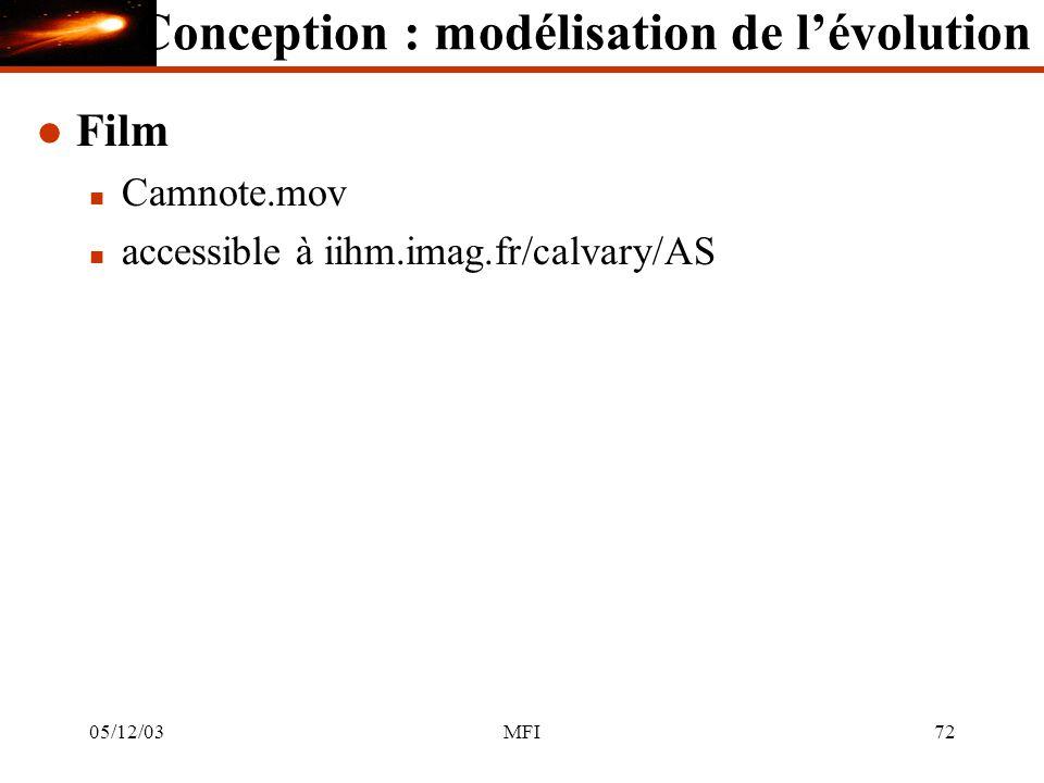 05/12/03MFI72 l Film n Camnote.mov n accessible à iihm.imag.fr/calvary/AS Conception : modélisation de lévolution