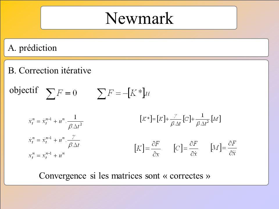 Newmark objectif A. prédiction B. Correction itérative Convergence si les matrices sont « correctes »