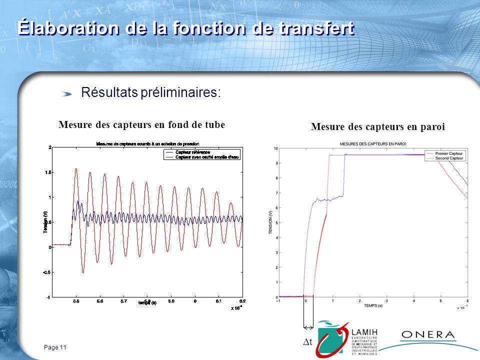 Page 11 Résultats préliminaires: Élaboration de la fonction de transfert Mesure des capteurs en fond de tube t Mesure des capteurs en paroi