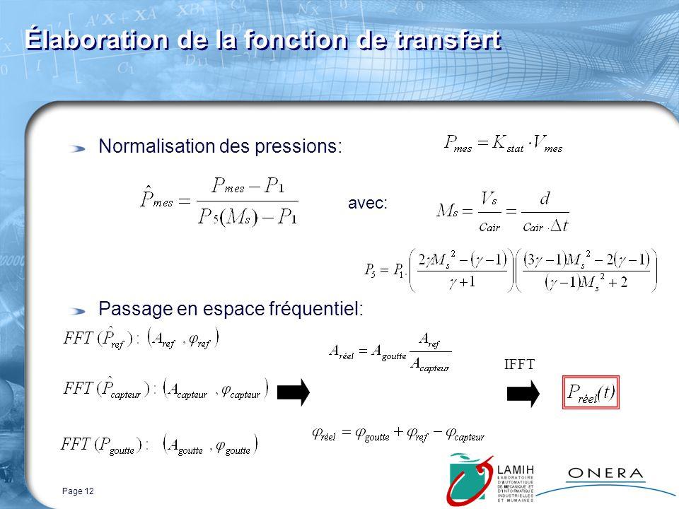 Page 12 Normalisation des pressions: Passage en espace fréquentiel: Élaboration de la fonction de transfert avec: IFFT