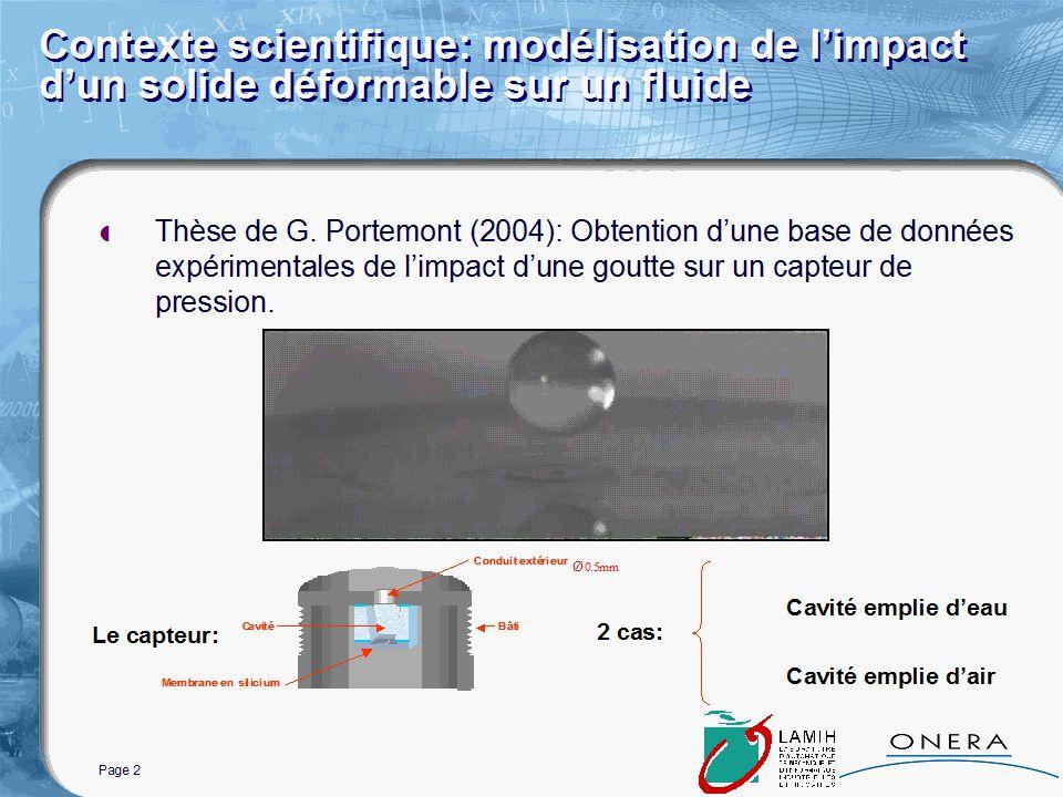 Page 2 Contexte scientifique: modélisation de limpact dun solide déformable sur un fluide Thèse de G.