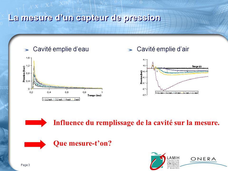 Page 3 La mesure dun capteur de pression Cavité emplie deauCavité emplie dair Influence du remplissage de la cavité sur la mesure.