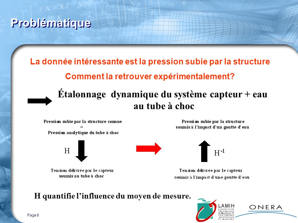 Page 6 Problématique La donnée intéressante est la pression subie par la structure Comment la retrouver expérimentalement.