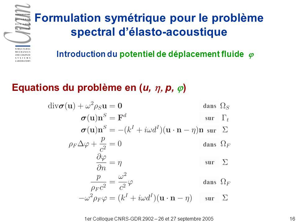 161er Colloque CNRS-GDR 2902 – 26 et 27 septembre 2005 Formulation symétrique pour le problème spectral délasto-acoustique Introduction du potentiel de déplacement fluide Equations du problème en (u, p, ) dans sur
