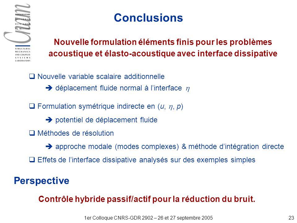 231er Colloque CNRS-GDR 2902 – 26 et 27 septembre 2005 Nouvelle variable scalaire additionnelle déplacement fluide normal à linterface Formulation symétrique indirecte en (u,, p) potentiel de déplacement fluide Méthodes de résolution approche modale (modes complexes) & méthode dintégration directe Effets de linterface dissipative analysés sur des exemples simples Perspective Contrôle hybride passif/actif pour la réduction du bruit.