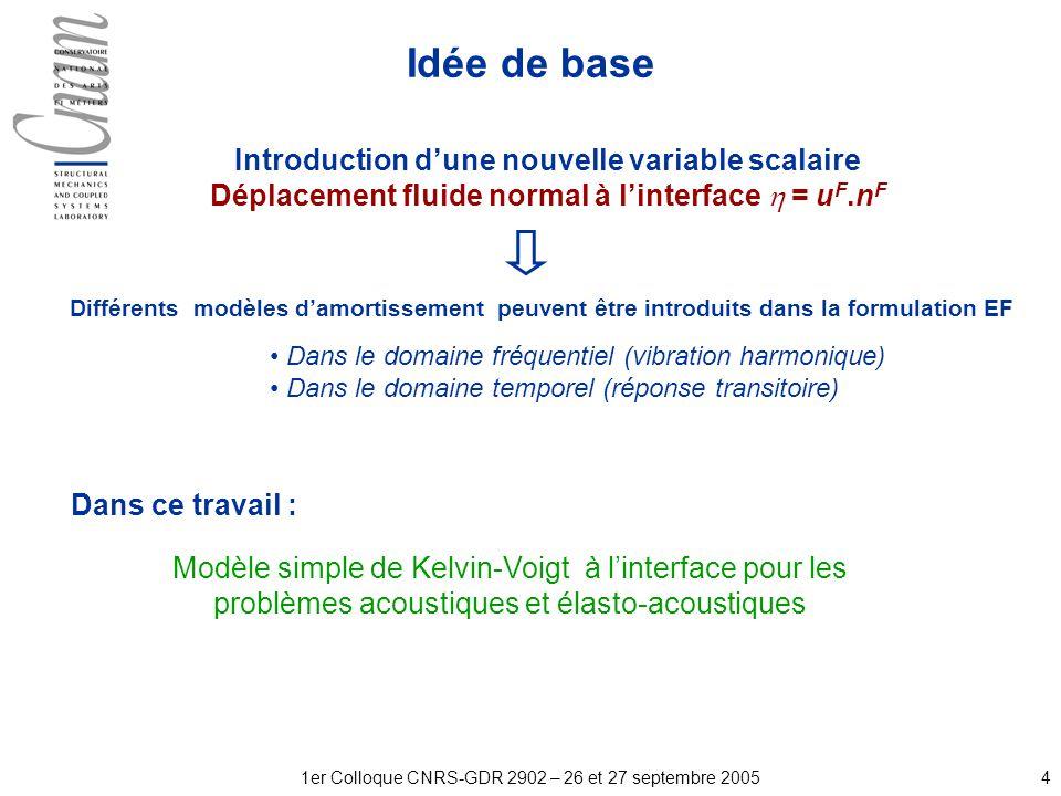 41er Colloque CNRS-GDR 2902 – 26 et 27 septembre 2005 Idée de base Modèle simple de Kelvin-Voigt à linterface pour les problèmes acoustiques et élasto-acoustiques Introduction dune nouvelle variable scalaire Déplacement fluide normal à linterface = u F.n F Différents modèles damortissement peuvent être introduits dans la formulation EF Dans le domaine fréquentiel (vibration harmonique) Dans le domaine temporel (réponse transitoire) Dans ce travail :