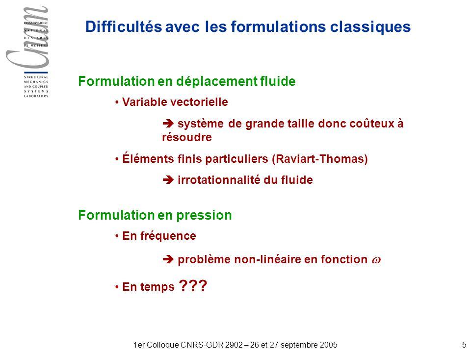 51er Colloque CNRS-GDR 2902 – 26 et 27 septembre 2005 Formulation en déplacement fluide Variable vectorielle système de grande taille donc coûteux à résoudre Éléments finis particuliers (Raviart-Thomas) irrotationnalité du fluide Formulation en pression En fréquence problème non-linéaire en fonction En temps .
