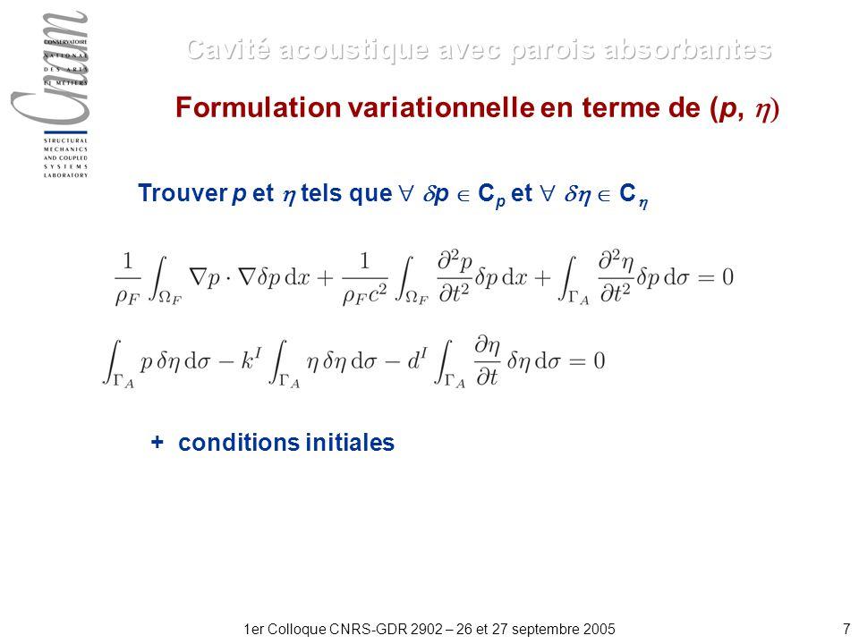 71er Colloque CNRS-GDR 2902 – 26 et 27 septembre 2005 Formulation variationnelle en terme de (p, + conditions initiales Trouver p et tels que p C p et C
