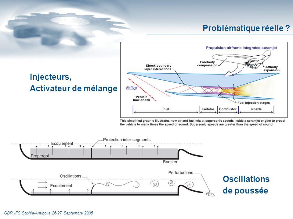 GDR IFS Sophia-Antipolis 26-27 Septembre 2005 Injecteurs, Activateur de mélange Oscillations de poussée Problématique réelle