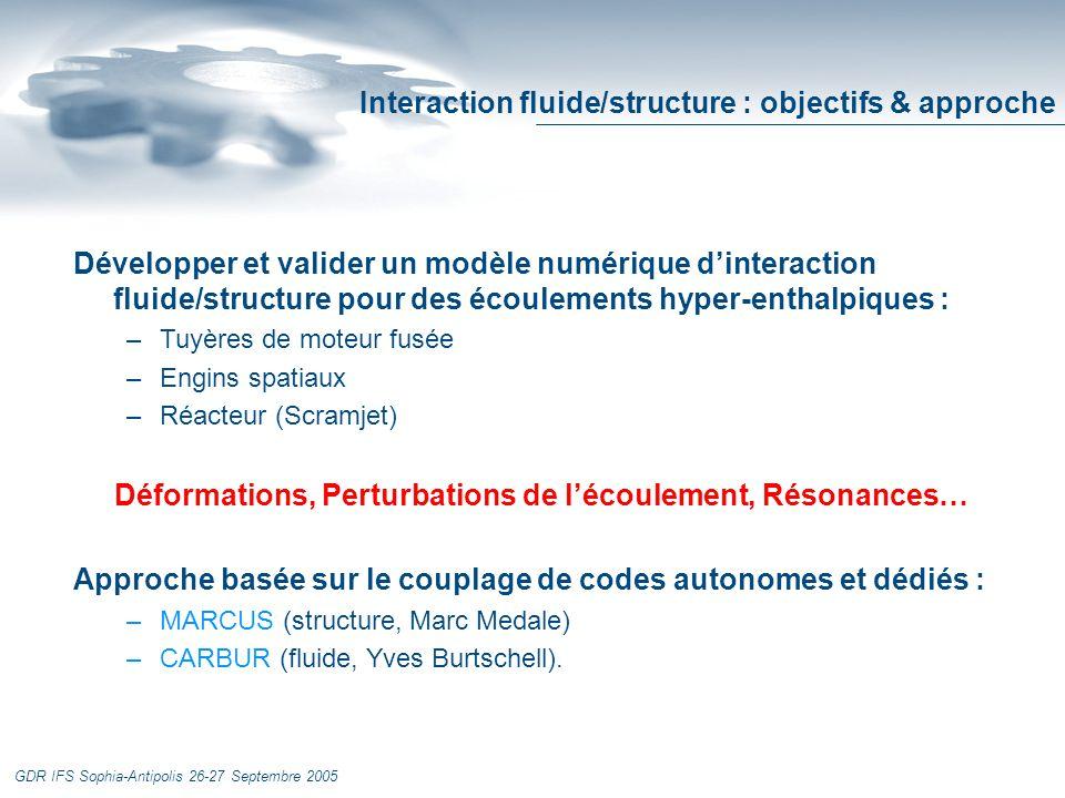 GDR IFS Sophia-Antipolis 26-27 Septembre 2005 Interaction fluide/structure : objectifs & approche Développer et valider un modèle numérique dinteraction fluide/structure pour des écoulements hyper-enthalpiques : –Tuyères de moteur fusée –Engins spatiaux –Réacteur (Scramjet) Déformations, Perturbations de lécoulement, Résonances… Approche basée sur le couplage de codes autonomes et dédiés : –MARCUS (structure, Marc Medale) –CARBUR (fluide, Yves Burtschell).