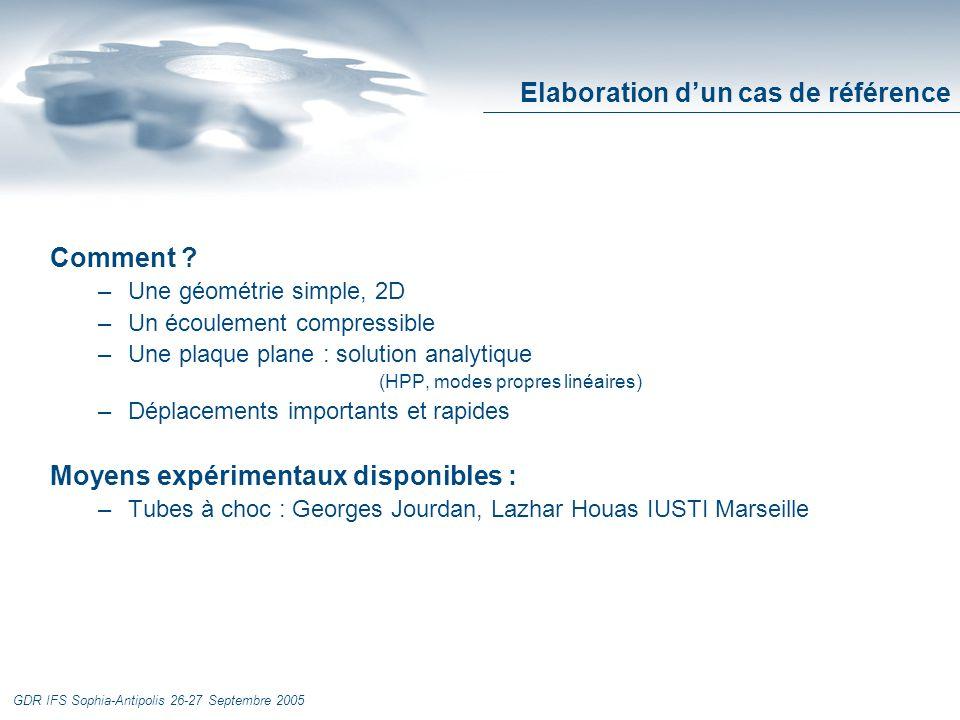 GDR IFS Sophia-Antipolis 26-27 Septembre 2005 Elaboration dun cas de référence Comment .