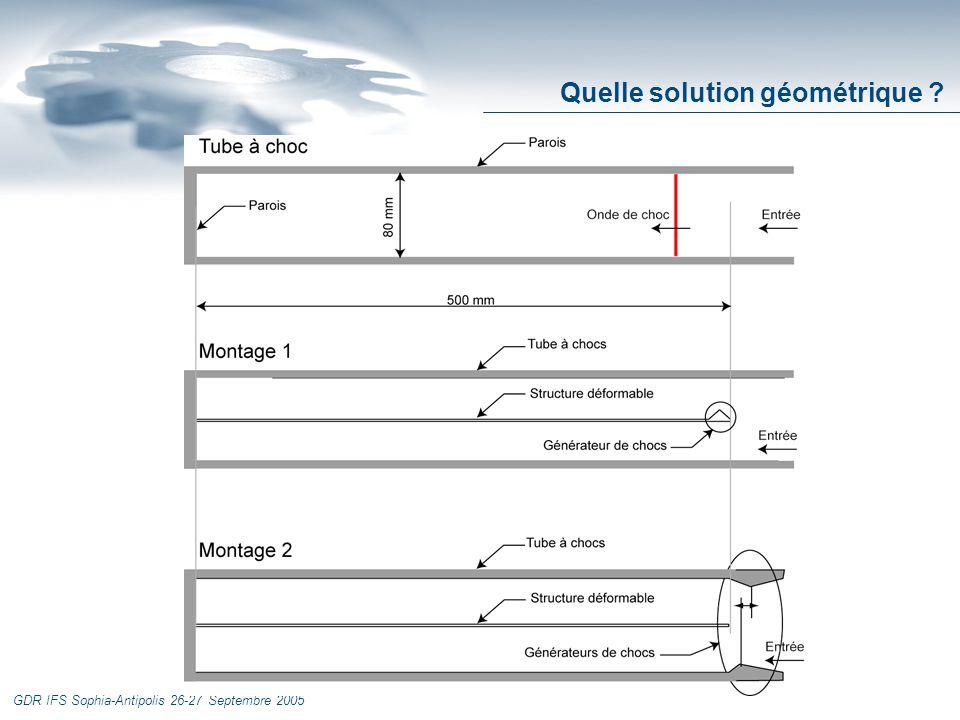 GDR IFS Sophia-Antipolis 26-27 Septembre 2005 Solution non retenue Entrée Parois Structure déformable