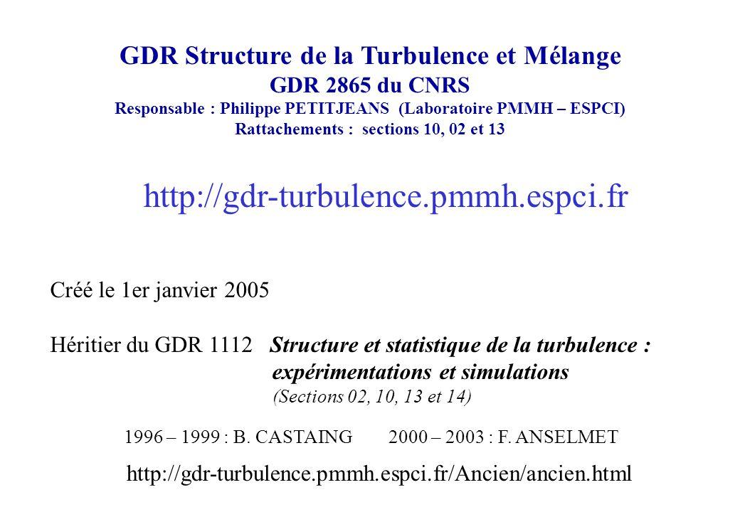 Rôle des structures cohérentes dans les écoulements turbulents Techniques de mesure Turbulence Lagrangienne et dispersion dans un milieu turbulent complexe Structure fine de la Turbulence Homogène et Isotrope (THI) Micromélange pour les nouveaux systèmes de combustion Turbulence anisotrope et turbulence de paroi Applications de la turbulence dans divers autres domaines (astrophysique, MHD, géophysique, etc …) Couplages turbulence / ondes (en présence de rotation/stratification)