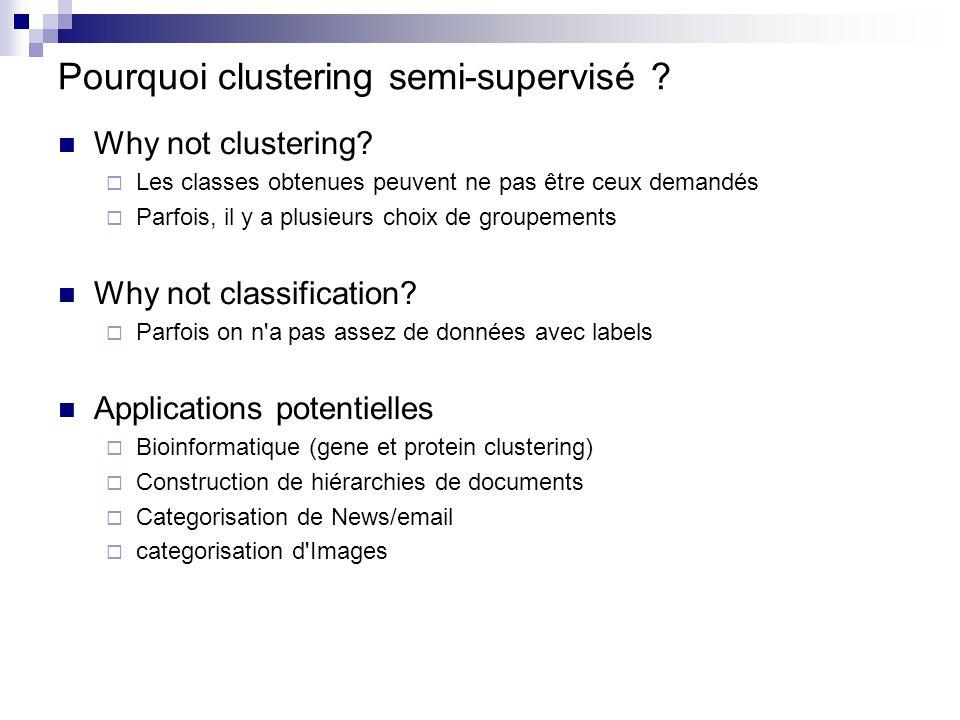 Pourquoi clustering semi-supervisé ? Why not clustering? Les classes obtenues peuvent ne pas être ceux demandés Parfois, il y a plusieurs choix de gro