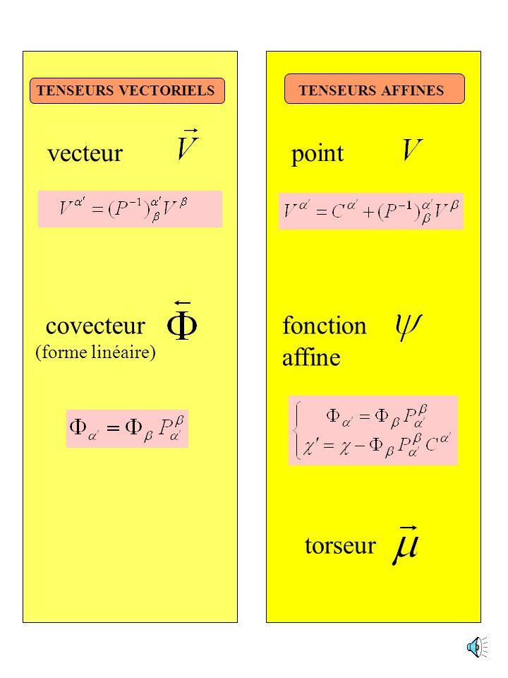 GENERALISATION DU CONCEPT DE TENSEUR Les tenseurs sont des objets dont les composantes sont modifiées par une représentation linéaire dun groupe donné