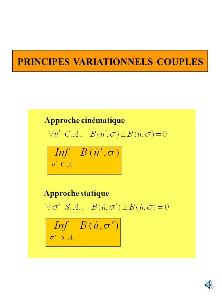 PRINCIPES VARIATIONNELS COUPLES Approche cinématique Approche statique