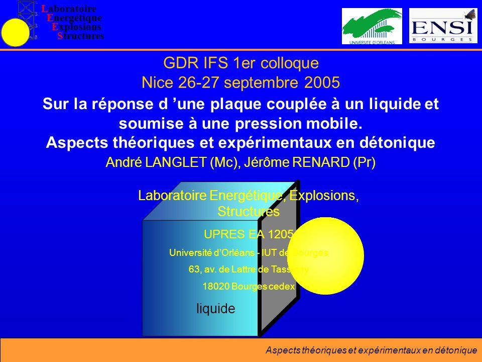 Aspects théoriques et expérimentaux en détonique liquide GDR IFS 1er colloque Nice 26-27 septembre 2005 Sur la réponse d une plaque couplée à un liquide et soumise à une pression mobile.