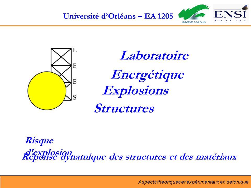 Aspects théoriques et expérimentaux en détonique Laboratoire Energétique Explosions Structures Risque d explosion Réponse dynamique des structures et des matériaux Université dOrléans – EA 1205