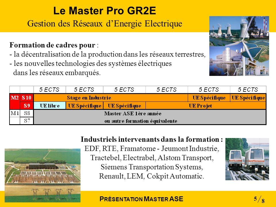 Mai 2004 8 P RÉSENTATION M ASTER ASE 5 Le Master Pro GR2E Gestion des Réseaux dEnergie Electrique Industriels intervenants dans la formation : EDF, RT