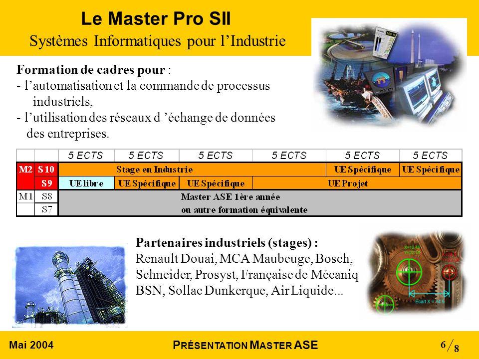 Mai 2004 8 P RÉSENTATION M ASTER ASE 6 Le Master Pro SII Systèmes Informatiques pour lIndustrie Partenaires industriels (stages) : Renault Douai, MCA Maubeuge, Bosch, Schneider, Prosyst, Française de Mécanique, BSN, Sollac Dunkerque, Air Liquide...
