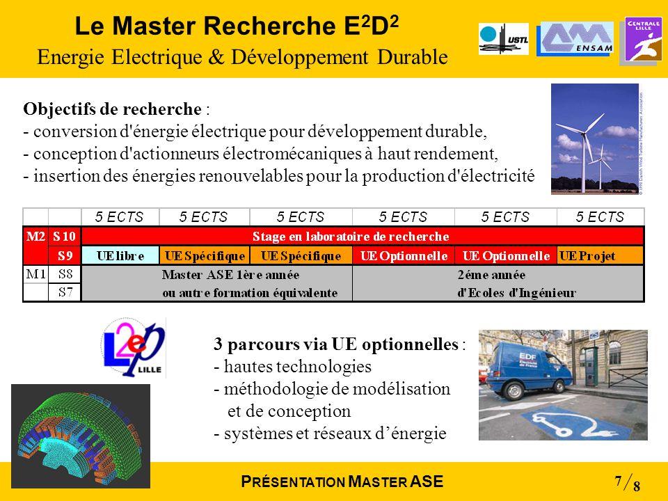 Mai 2004 8 P RÉSENTATION M ASTER ASE 7 Le Master Recherche E 2 D 2 Energie Electrique & Développement Durable 3 parcours via UE optionnelles : - haute
