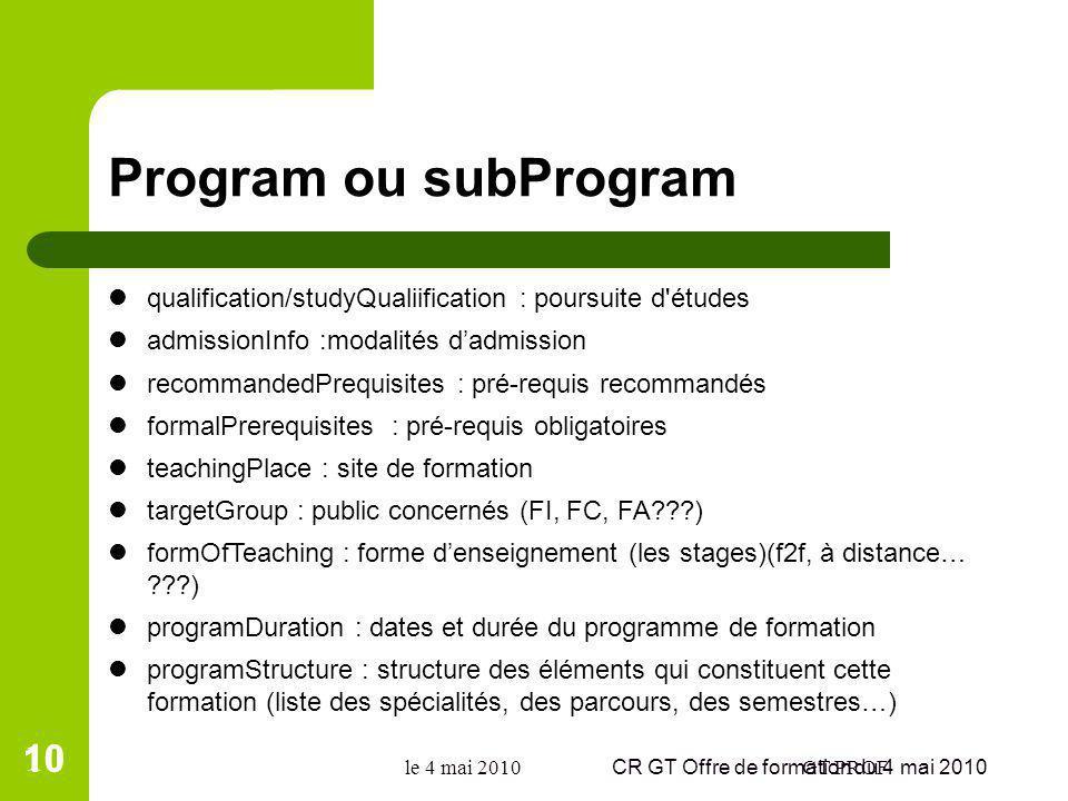 Program ou subProgram qualification/studyQualiification : poursuite d'études admissionInfo :modalités dadmission recommandedPrequisites : pré-requis r