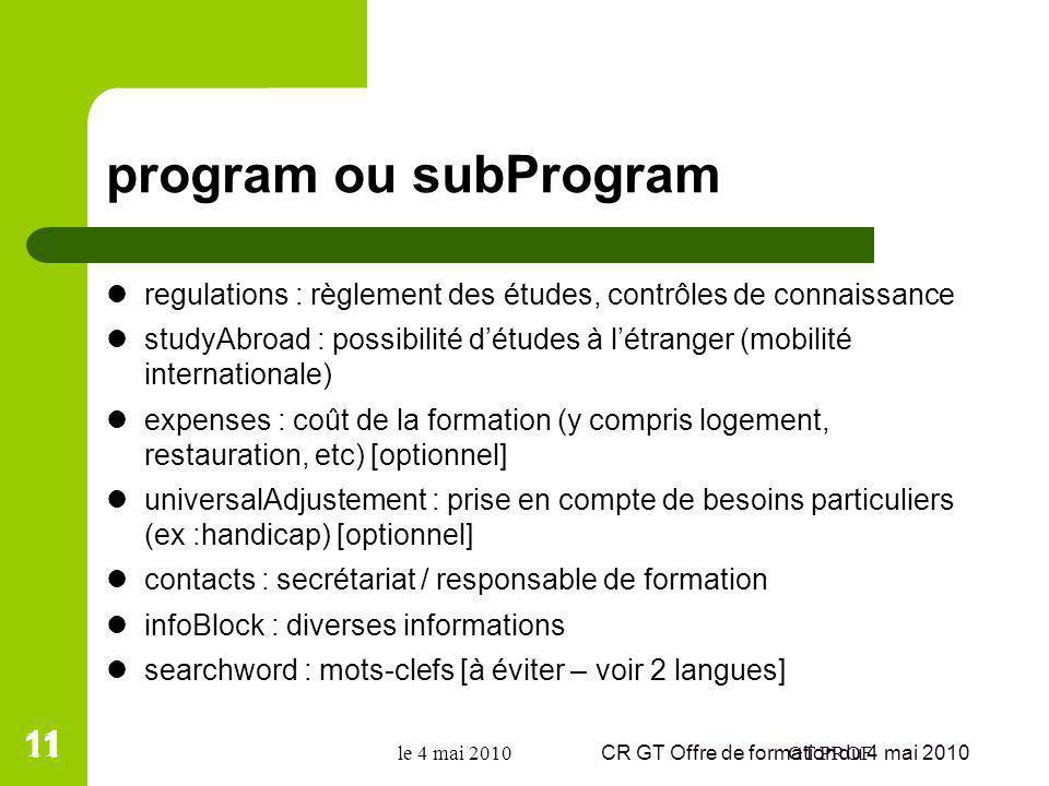program ou subProgram regulations : règlement des études, contrôles de connaissance studyAbroad : possibilité détudes à létranger (mobilité internatio
