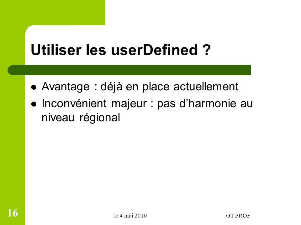 Utiliser les userDefined ? Avantage : déjà en place actuellement Inconvénient majeur : pas dharmonie au niveau régional le 4 mai 2010GT PROF 16