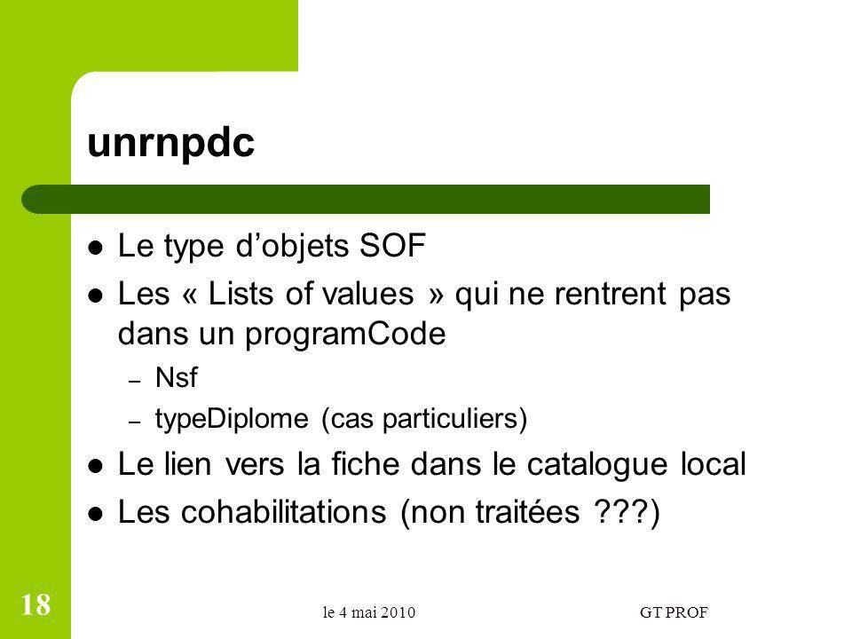 unrnpdc Le type dobjets SOF Les « Lists of values » qui ne rentrent pas dans un programCode – Nsf – typeDiplome (cas particuliers) Le lien vers la fic