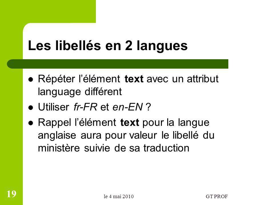 Les libellés en 2 langues Répéter lélément text avec un attribut language différent Utiliser fr-FR et en-EN ? Rappel lélément text pour la langue angl
