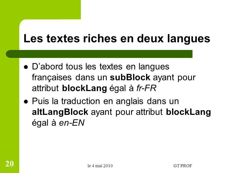 Les textes riches en deux langues Dabord tous les textes en langues françaises dans un subBlock ayant pour attribut blockLang égal à fr-FR Puis la tra