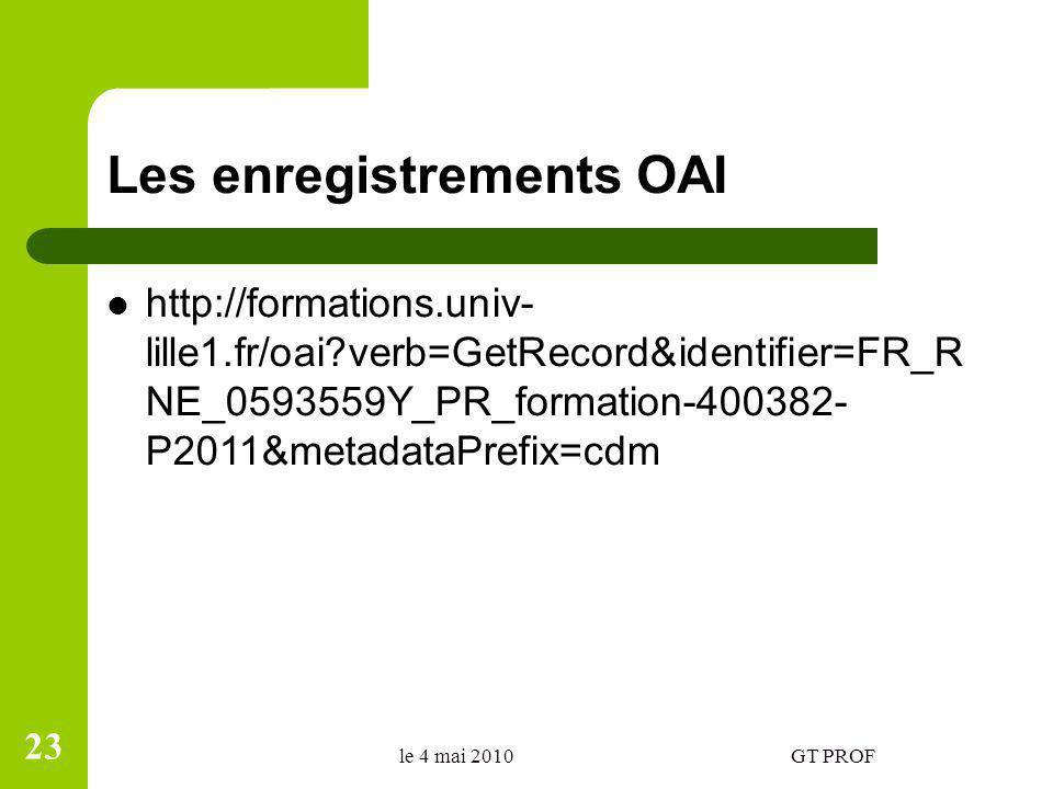 Les enregistrements OAI http://formations.univ- lille1.fr/oai verb=GetRecord&identifier=FR_R NE_0593559Y_PR_formation-400382- P2011&metadataPrefix=cdm le 4 mai 2010GT PROF 23