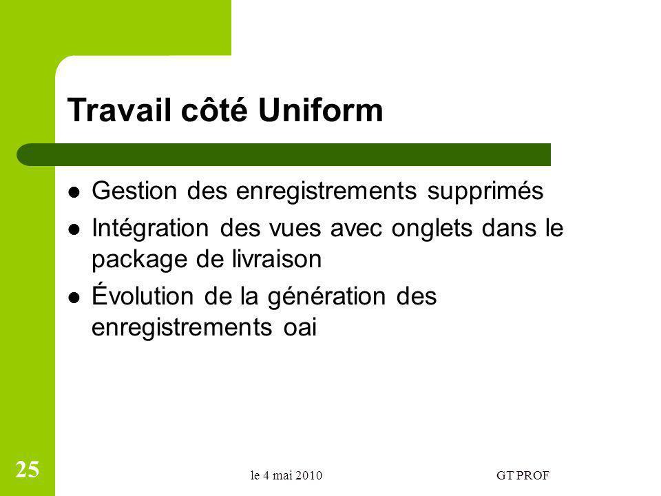 Travail côté Uniform Gestion des enregistrements supprimés Intégration des vues avec onglets dans le package de livraison Évolution de la génération d