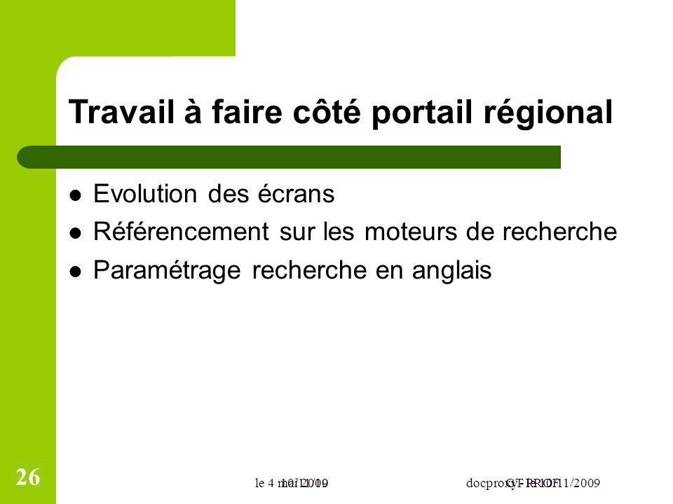 10/11/09docproxy - le 10/11/2009 Travail à faire côté portail régional Evolution des écrans Référencement sur les moteurs de recherche Paramétrage rec