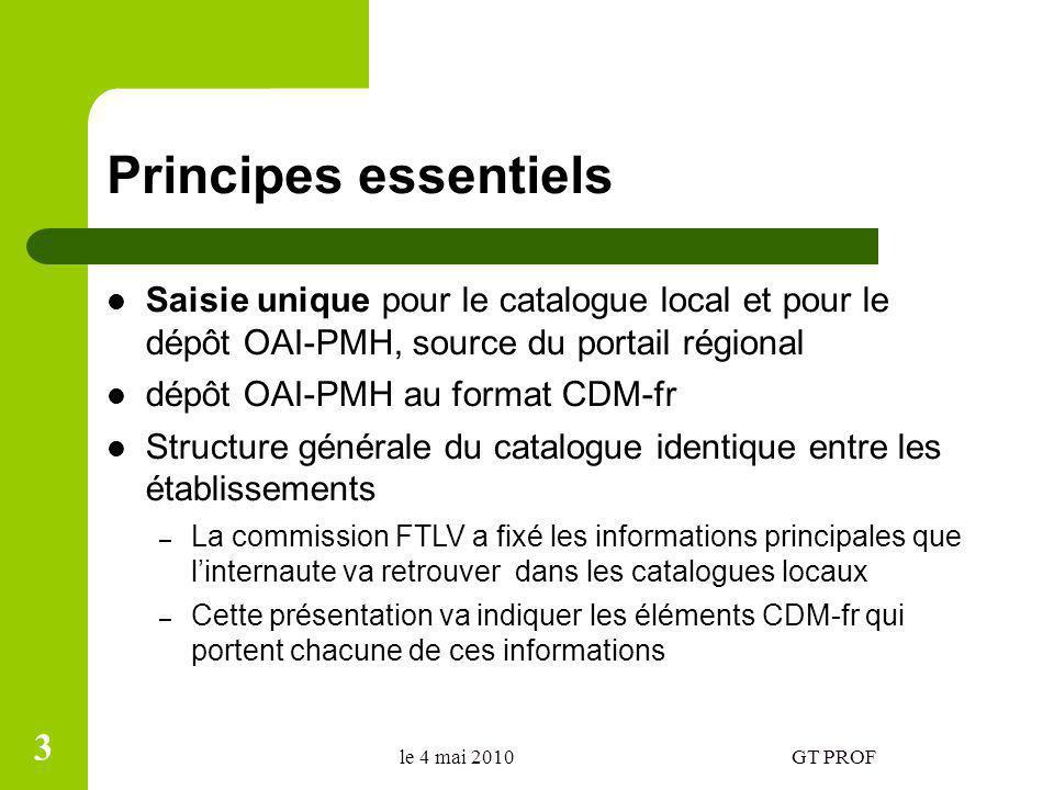 Principes essentiels Saisie unique pour le catalogue local et pour le dépôt OAI-PMH, source du portail régional dépôt OAI-PMH au format CDM-fr Structu