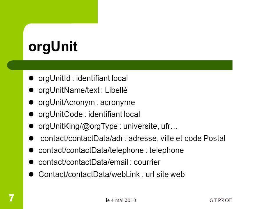 Les composantes dun établissement Les éléments de type UFR sont inclus dans leur élément « universite » (éléments fils) 8 le 4 mai 2010 8 GT PROF